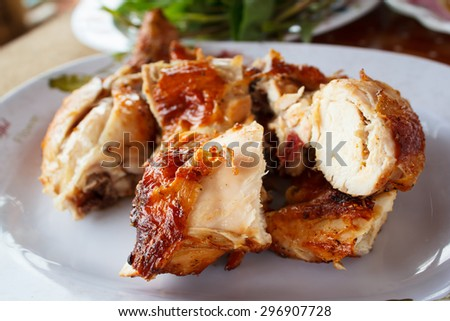 grilled chicken on plate, style thai food. - stock photo