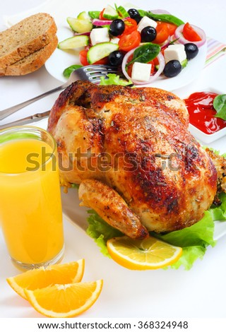 Grilled chicken salad food isolated white background