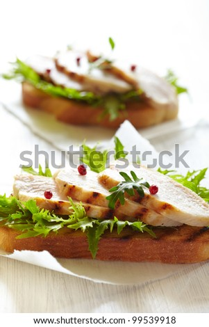 Grilled chicken sandwich - stock photo