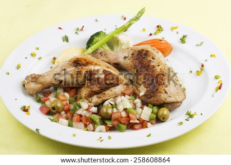 Grilled chicken steak with stir fried vegetable - stock photo