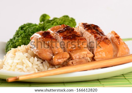 Grilled chicken Teriyaki with steamed rice and vegetables - stock photo