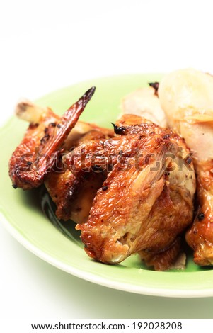 Grilled chicken wing and drumstick - stock photo