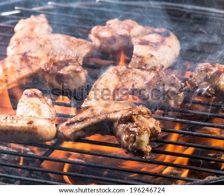Grilled chicken wings on the grill, close-up. - stock photo