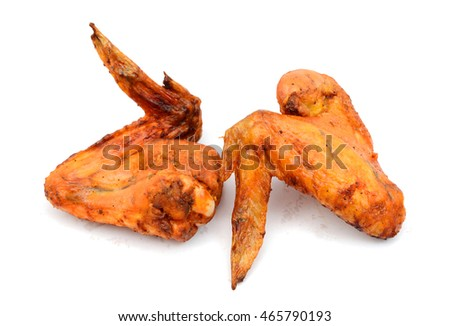 Grilled chicken wings on white background