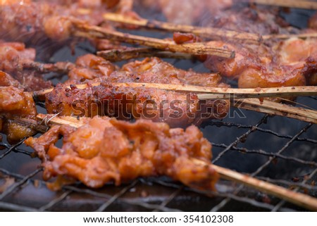 Grilled chicken with bones, Thai style food - stock photo