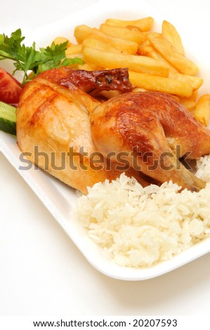 grilled chicken with potato and rice