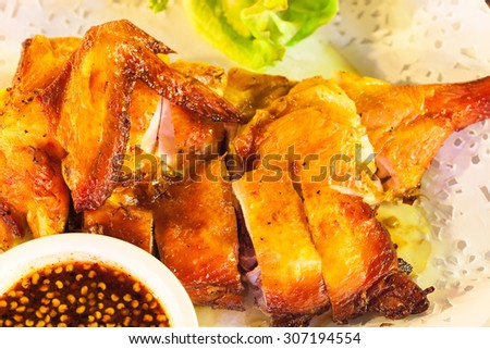 Grilled chicken with spicy sauce : Thai Style - stock photo