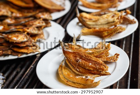 Grilled dried fish, dishes of thailand