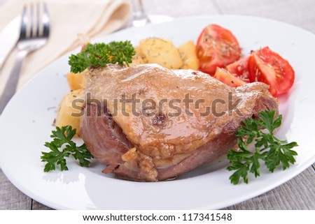 grilled duck and vegetables