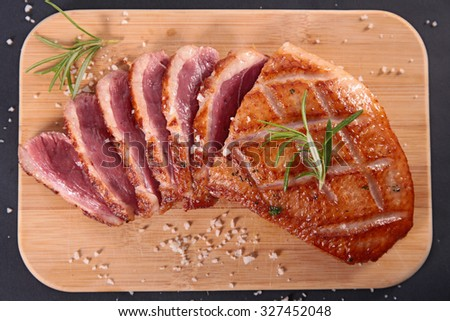 grilled duck meat - stock photo