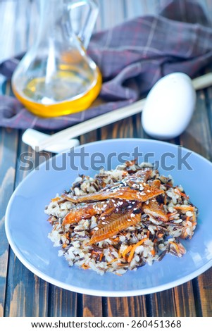 Grilled eel  with rice in bowl - stock photo