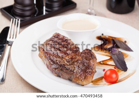 grilled fillet steak on an plate