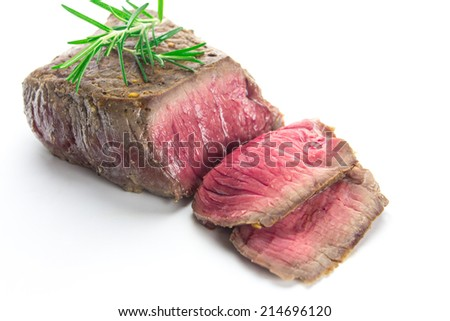grilled fillet steak on white background - stock photo