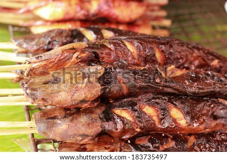 Grilled fish in the market