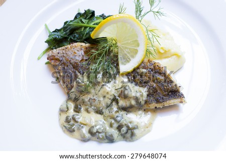 grilled fish steak slices - stock photo