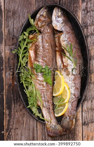 grilled fish,trout - stock photo