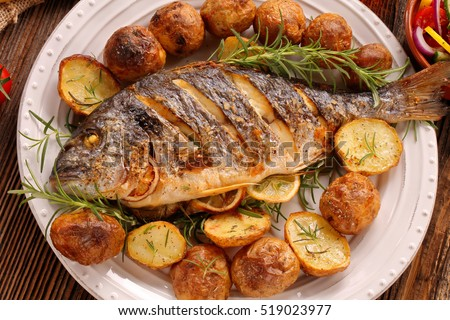 Grilled fish stock images royalty free images vectors for How to grill fish in oven