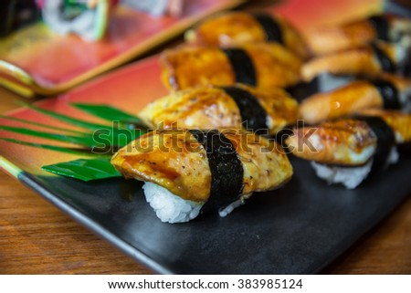 Grilled foie gras sushi , Japanese style food