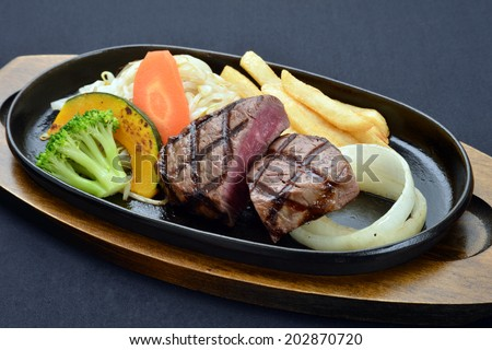 Grilled Foods - BBQ lamb fillet with teriyaki sauce with Vegetables-4 - stock photo