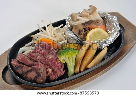 Grilled Foods - BBQ lamb fillet  with Vegetables and fish