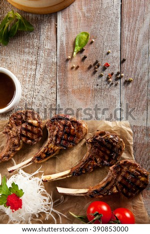 Grilled Foods - Rack of Lamb with Parsley, White Radish and Cherry Tomato - stock photo