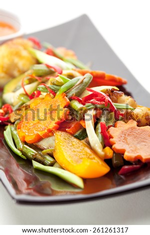 Grilled Foods - Vegetables with Chili Sauce