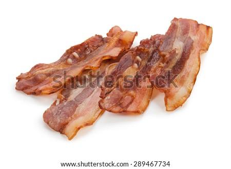 Grilled fresh bacon isolated on white background. - stock photo