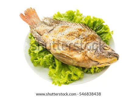 Grilled Fresh fish in white plate isolated on white background