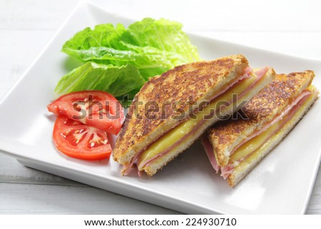 grilled ham and cheese sandwich - stock photo