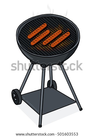 Grilled hot dogs on a grill illustration
