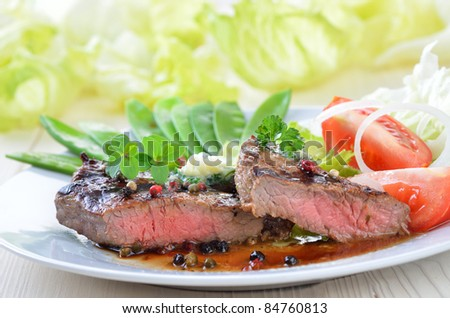 Grilled juicy beefsteak