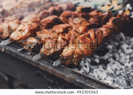 Grilled kebab cooking on metal skewer closeup. Roasted meat cooked at barbecue. BBQ fresh beef meat chop slices. Traditional eastern dish, shish kebab. Grill on charcoal and flame, picnic, street food