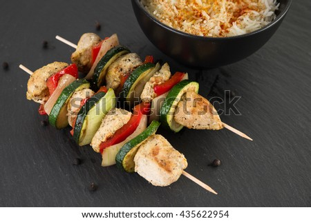 Grilled kebab with safron rice - stock photo