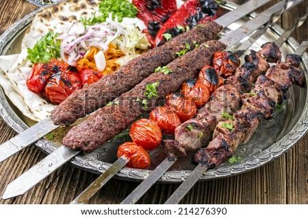 grilled koobideh with kebab - stock photo