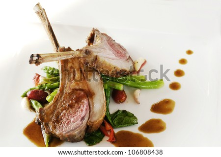 Grilled lamp chop. - stock photo