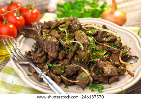 Grilled Liver with Onions   - stock photo