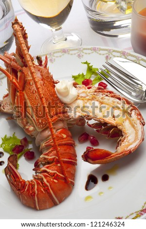 grilled lobster with endive, pomegranate and  vinaigrette - stock photo