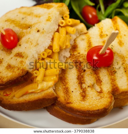 Grilled Macaroni and Cheese Sandwich. Selective focus.