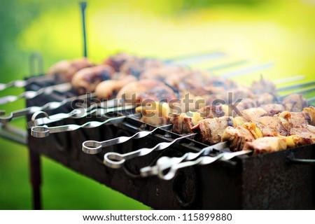 grilled meat - stock photo