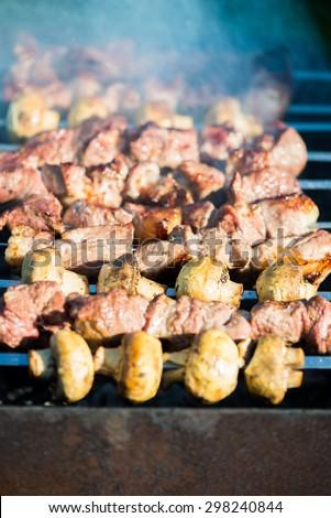 Grilled Meat and Mushroom Kebab. Macro shot, selective focus, shallow DOF  - stock photo