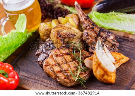 Grilled meat and potato