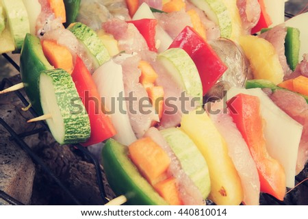 Grilled meat and vegetables, barbecue grill food - stock photo