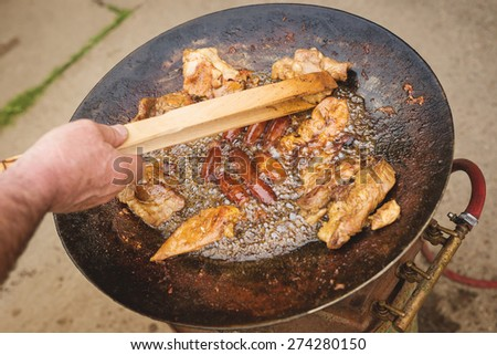 Grilled meat, BBQ, mixed meat on the grill. Sausages. Kebab.  - stock photo
