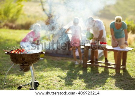 grilled meat skewers smoke barbecue - stock photo
