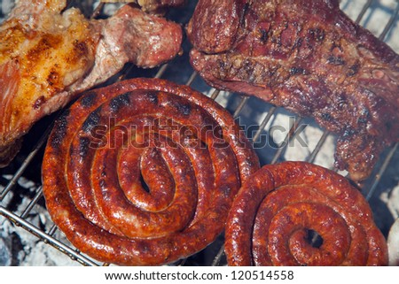 Grilled meats and chicken outdoors - stock photo