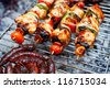 Grilled meats outdoors - stock photo