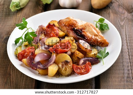Grilled mixed vegetable with chicken breast, close up view