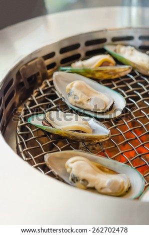 Grilled New Zealand mussels , delicious seafood bbq - stock photo