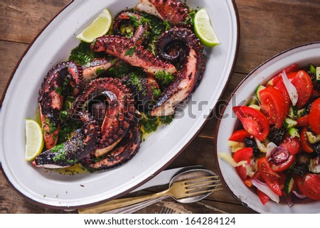 Grilled Octopus Salad - stock photo