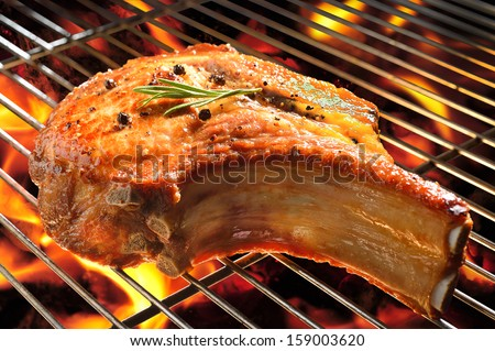 Grilled pork chop on the flaming grill. - stock photo